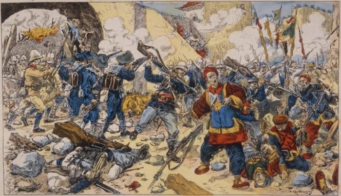 Французская морская пехота сражается с китайцами. | Фото: nstarikov.ru.